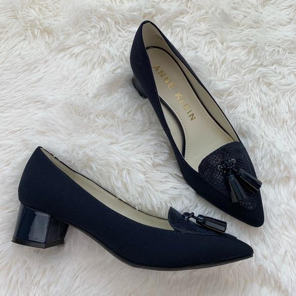 25b1fcf4fc361 Anne Klein Shoes   Tassel Pointy Toe Navy Heeled Loafers   Poshmark